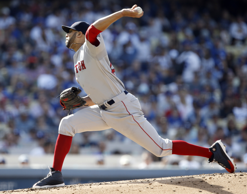 Red Sox starting pitcher David Price allowed six runs in five innings and Boston lost to the Dodgers 8-5 on Sunday in Los Angeles. Associated Press/Alex Gallardo