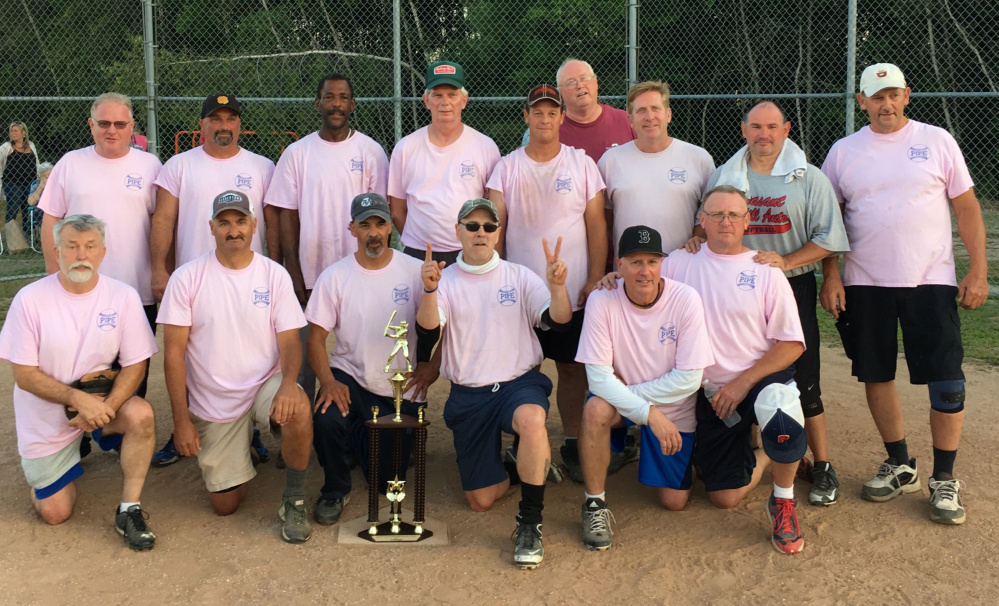 Portland Plastic Pipe won the Greater Portland Senior Men's Softball League championship, beating Pleasantdale 8-6 in the championship game. Team members, from left to right (front row): Bobby Collins, Dan Sullivan, Randy Aspiras, Frank McLaughlin, Don Brown and Dave Sinclair; (second row) Jimmy Nugent, Buddy Lakin, Paul Samms, Jesse Shannon, Jimmy Jackson, Denny Lacombe, Steve Fitzgerald and Wayne Shaw; (back row) Coach John Gildard.