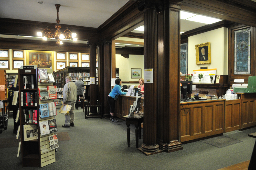This is how the circulation desk of Augusta's Lithgow Public Library appeared on April 11, 2015.