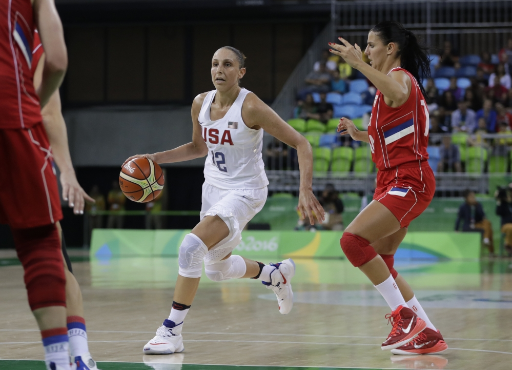 U.S. guard Diana Taurasi dribbles in the second half of Wednesday's game against Serbia in Rio de Janeiro. Taurasi scored 25 points as the United States defeated Serbia, 110-84.