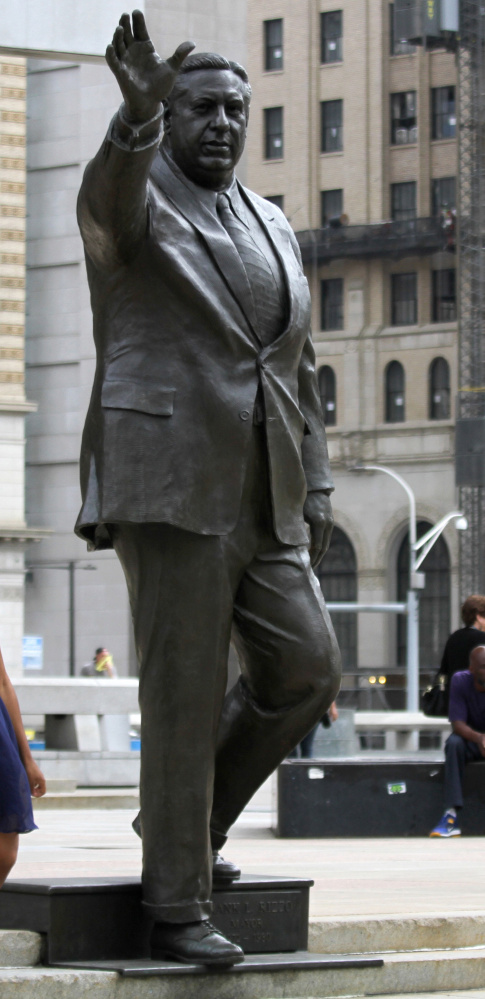 Former Philadelphia Mayor Frank Rizzo, a charismatic character, is portrayed in a statue.