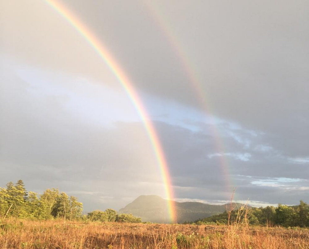 Somewhere over the ... double rainbow ...  bluebirds may well fly, but there probably aren't two pots of gold down in the valley of Elliotsville Plantation, where Dianne Corbin of   Newfield was lucky enough to capture this image.