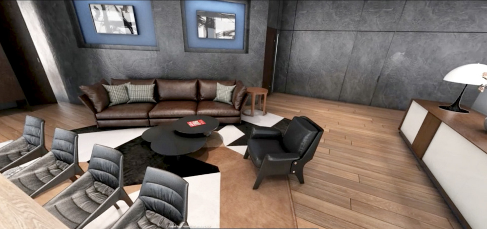 A screenshot of a Tangram 3DS rendering shows off the interior of an unbuilt building.