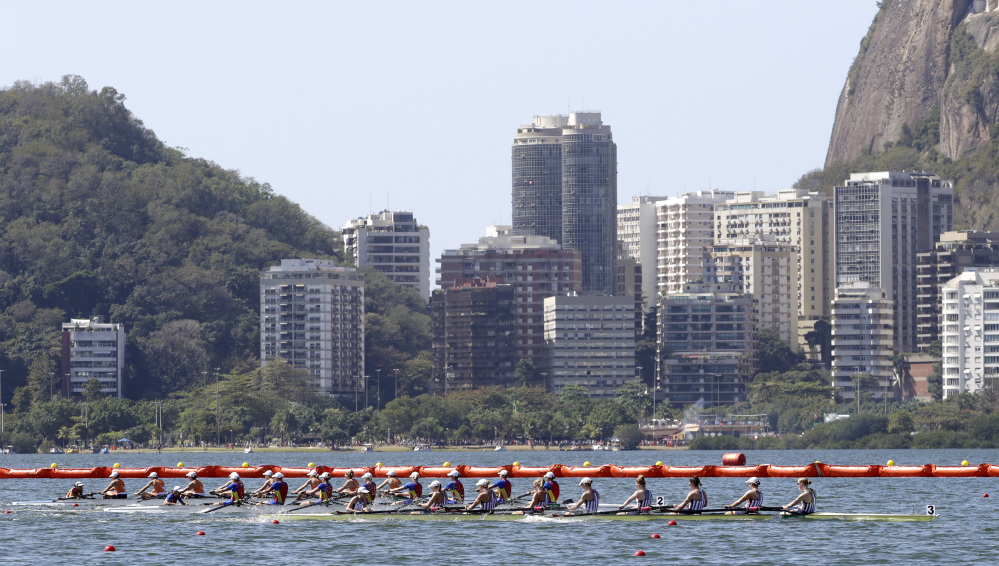 The United States rowing eight team – with Eleanor Logan of Boothbay Harbor third from the front – wins gold in the women's rowing eight final at the 2016 Summer Olympics in Rio de Janeiro, Brazil on Saturday. It was the third gold medal in the event for Logan.