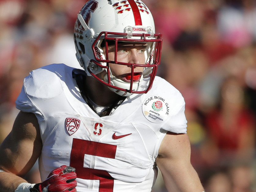 Stanford running back Christian McCaffrey plays against Iowa during the first half of the Rose Bowl e in Pasadena, Calif.
