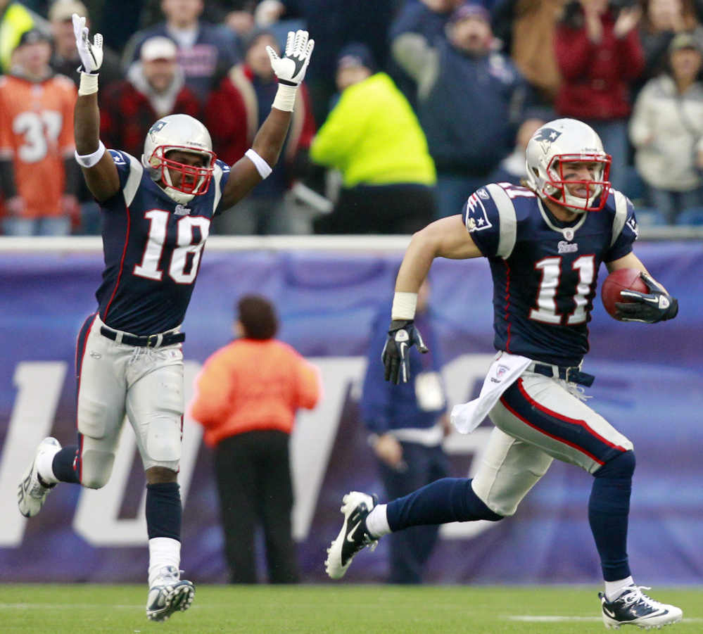 Scene like this – where Matthew Slater, left, celebrates as Julian Edelman returns a kickoff for a TD – could be seen a lot less as the NFL tweaks rules for the special teams play. Five years ago, the league moved kickoffs up to the 35-yard line in an effort to increase touchdowns. This year, a touchback will put the ball on the 25.