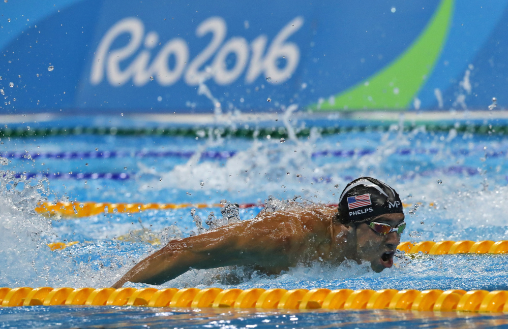 Michael Phelps competes in the men's 4 x 100-meter medley relay final at the 2016 Summer Olympics on Saturday in Rio de Janeiro, Brazil.