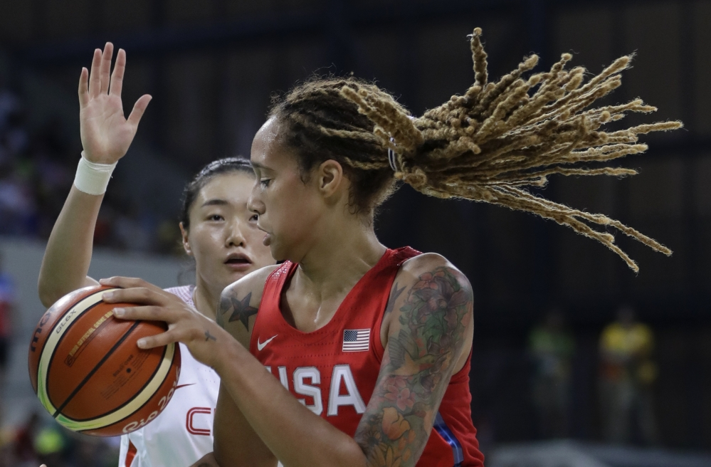 U.S. center Brittney Griner controls the ball under the basket during the first half Sunday against China in Rio de Janeiro.
