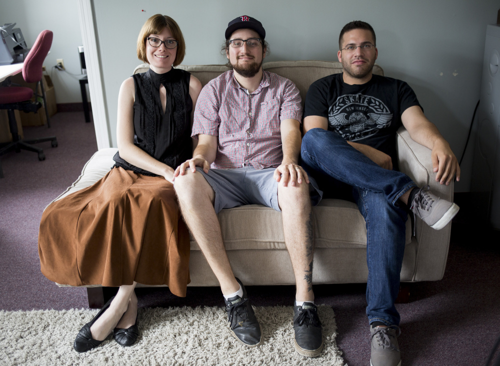 Verity DeLong, left, general manager; Cody DeLong, CEO, and Keagan Ilvonen, assistant/customer service representative, pose at the office of VIP concert packager Sound Rink in Portland. The company reported revenue growth of over 1,700 percent from 2013 to 2015.