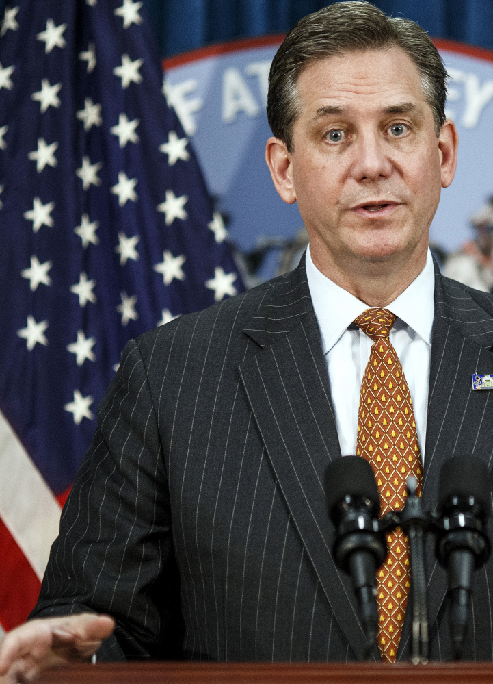 First Deputy Attorney General Bruce L. Castor talks at a news conference in Harrisburg, Pa., Tuesday.