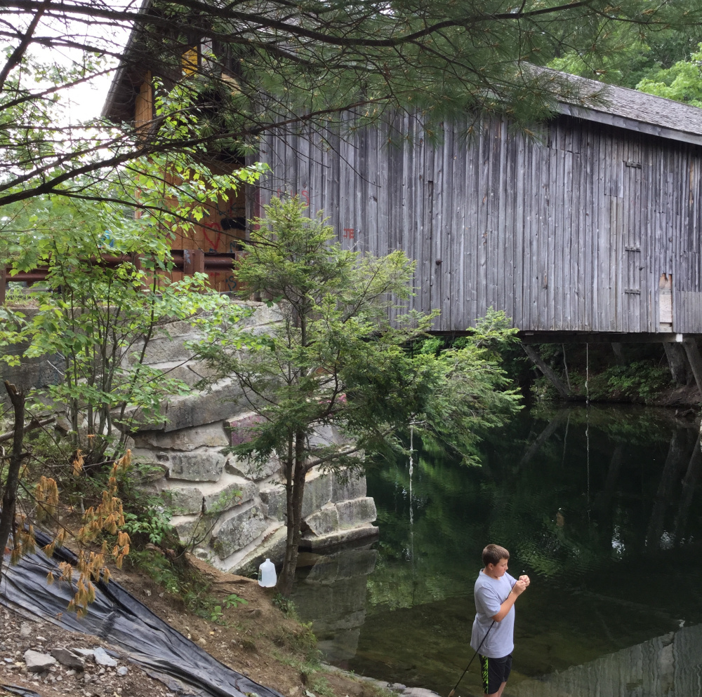 Just outside of Gorham on Hurricane Road, the historic Babb's Bridge spanning the Presumpscot River marks a popular swimming hole where rope swings are the main attraction for swimmers, but jumping from the bridge is strictly prohibited.