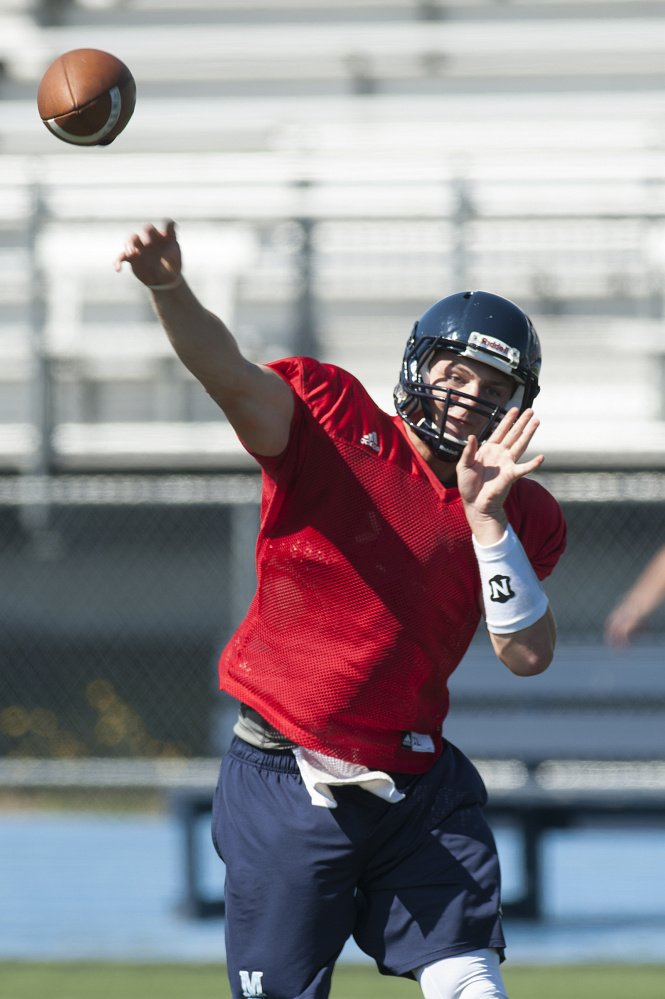 Quarterback Dan Collins, seen Aug. 8 during UMaine's first practice of the 2016 season, has been named Maine's starting quarterback for the third straight year.