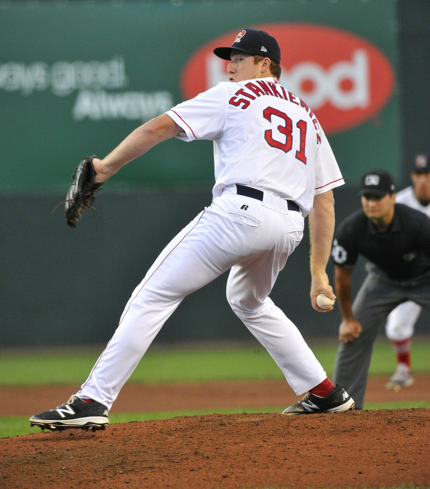 Pitcher Teddy Stankiewicz allowed three runs on four hits and three walks in six innings as the Sea Dogs lost to the Fisher Cats 4-0 on Monday at Hadlock Field.