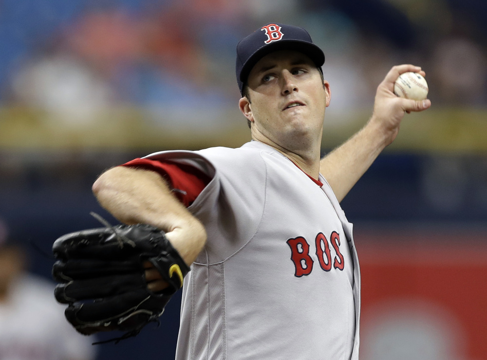 Boston pitcher Drew Pomeranz delivers during the first inning against the Tampa Bay Rays on Thursday in St. Petersburg, Fla. Pomerantz allowed two runs and struck out 11 in six innings, but didn't get enough help from the offense in a 2-1 loss.