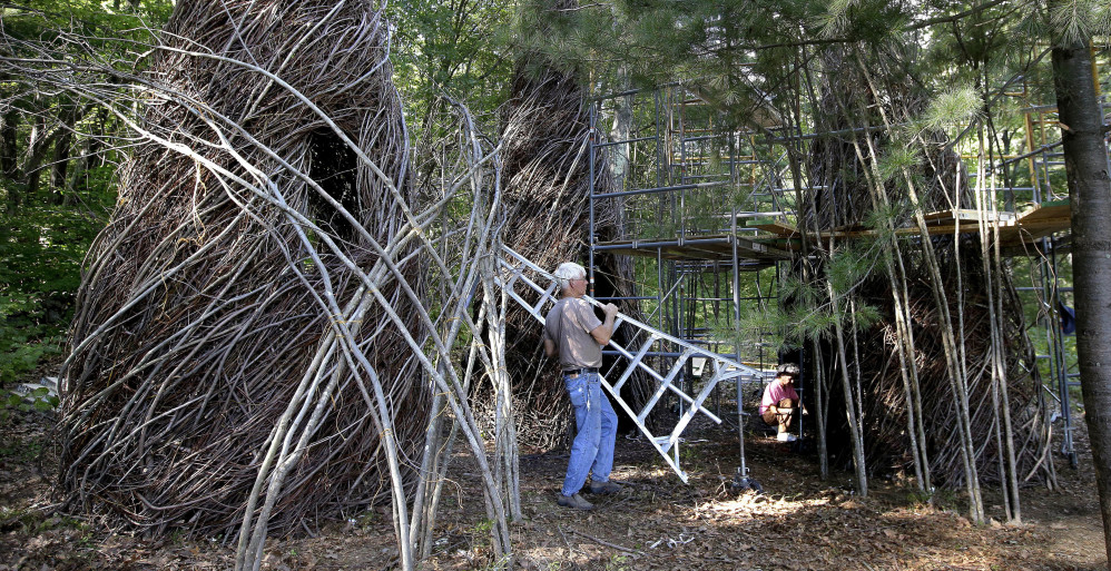 Patrick Dougherty began using sticks in his art to repurpose saplings along highways and power lines discarded by maintenance crews. Some of his art soars as high as 30 feet.