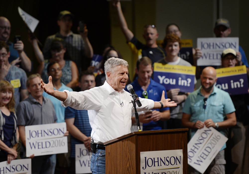 Libertarian presidential candidate Gary Johnson speaks at the Franco American Heritage Center in Lewiston in August. Shawn Patrick Ouellette/Staff Photographer