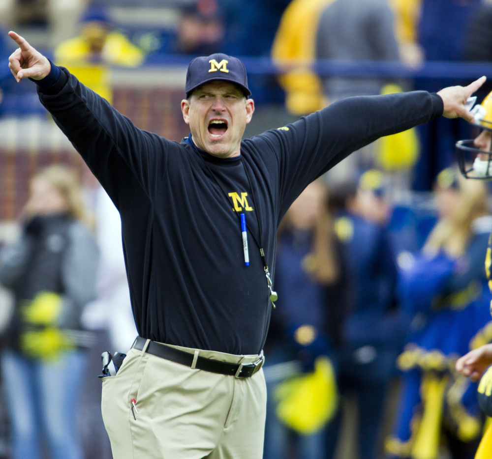 Michigan Coach Jim Harbaugh uses everything he can think of to lure recruits, and it's working. The Wolverines were 5-7 the year before he arrived and 10-3 in his first season.