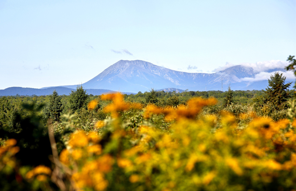 Mount Katahdin is seen in a view from Route 159 in Patten, bordering the Katahdin Woods and Waters National Monument on August 27, 2016.