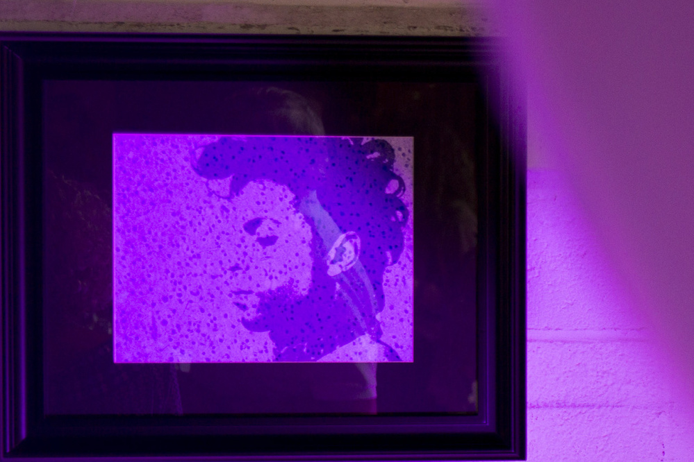 A picture of the late musician Prince, made using photos of Sam Koenigsberg's cancer cells, hangs on the wall at his party. Prince and the color purple have played a big part in Koenigsberg's life, especially since his diagnosis.
