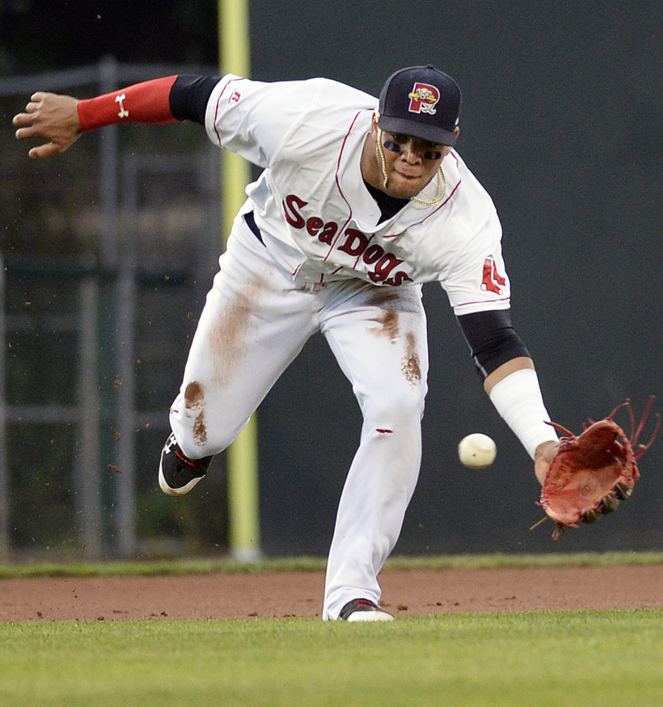 One reason the Boston Red Sox may send Yoan Moncada to the Arizona Fall League would be to work on his fielding. Moncada is still learning to play third base – a position where Boston needs help. Sunday was only his eighth game at the position with the Portland Sea Dogs.