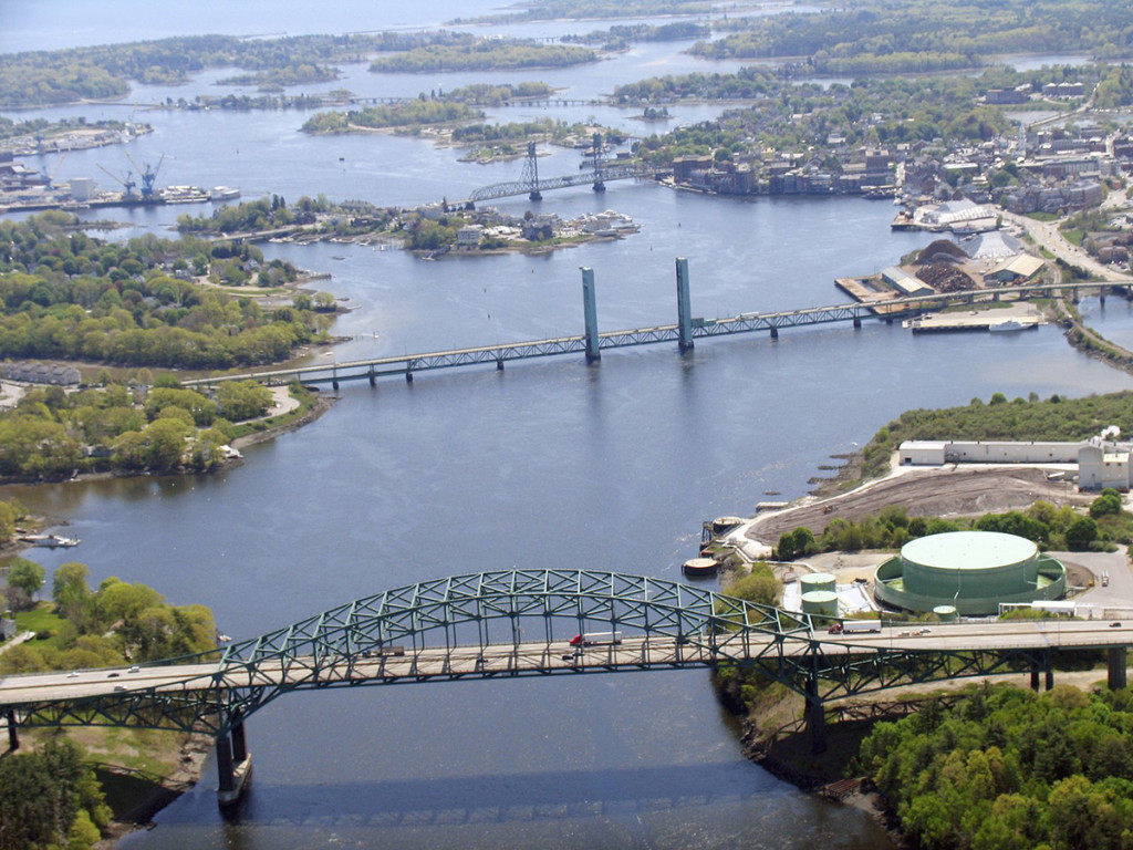 The Sarah Mildred Long Bridge, center, is one of three bridges that link Maine to New Hampshire over the Piscataqua River. The Interstate 95 Piscataqua River Bridge is in the foreground and Memorial Bridge is the background. 2011 photo courtesy of the Maine Department of Transportation