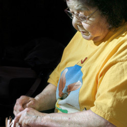 Clara Keezer Neptune works on a basket in her home at the Pleasant Point reservation in Perry in 2003. Keezer died Tuesday in Calais, a day before her 86th birthday. Gregory Rec/Staff Photographer