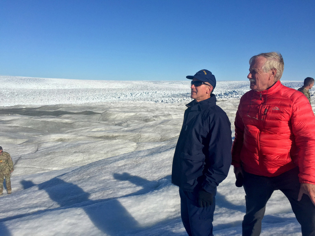 "U.S. Coast Guard Commandant Paul F. Zukunft and Sen. Angus King survey the Jacobshavn Glacier on Monday. ""What's happening there is amazing and scary,"" King said of Greenland's largest glacier."