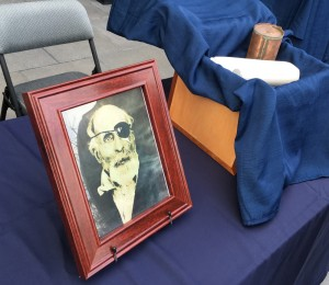 The cremated remains and a photo of Maine Civil War soldier Jewett Williams are displayed in Salem, Ore., on Monday before the ashes are handed over for a motorcycle journey across the country to Williams' home state of Maine to be buried with military honors. Williams served in the 20th Maine Regiment and died in 1922 at an Oregon insane asylum.