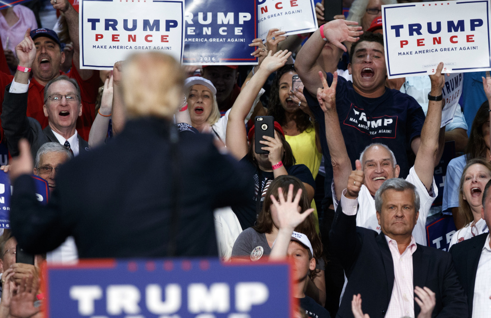 Donald Trump, who's scheduled to appear in Portland's Merrill Auditorium on Thursday, draws an enthusiastic crowd Wednesday in Daytona Beach, Fla., but many Republican Party leaders aren't cheering as their presidential nominee's campaign becomes more and more chaotic.