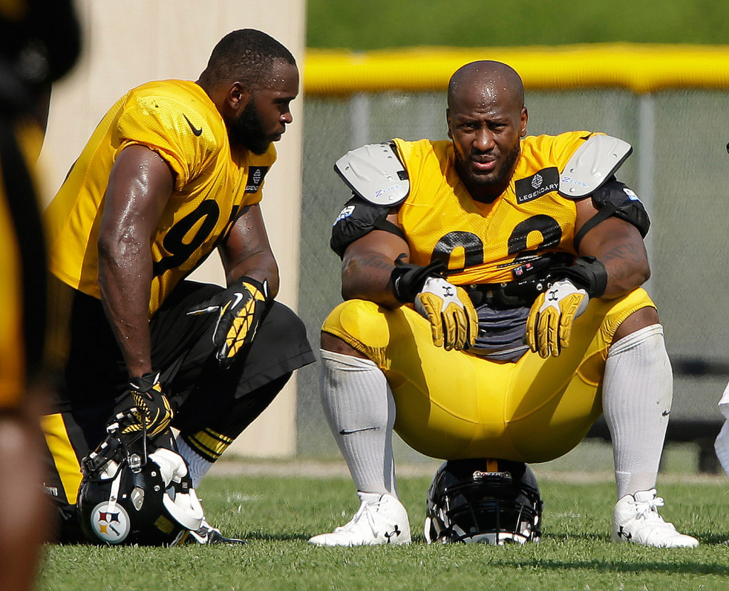 Pittsburgh Steelers linebackers James Harrison, right, and Vince Williams take a break during a practice at the NFL football team's training camp in Latrobe, Pa. Harrison is one of four players the NFL has threatened to suspend for failing to cooperate with a PED investigation. Associated Press/Gene J. Puskar