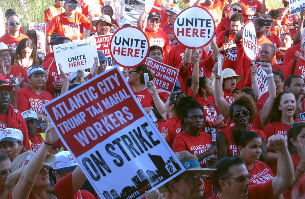 Striking union members rally outside the Trump Taj Mahal casino in Atlantic City, N.J., in July. On Thursday, the owners announced that the casino will close after Labor Day.