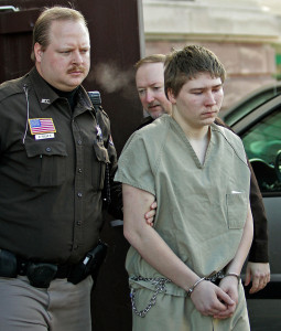 """Brendan Dassey, shown in 2006 when he was 16, is escorted out of a Manitowoc County Circuit courtroom in Manitowoc, Wis. A federal court in Wisconsin overturned the conviction of Dassey, who was found guilty of helping his uncle kill Teresa Halbach in a case profiled in the Netflix documentary """"Making a Murderer, but the state's attorney general is appealing that decision."""""""