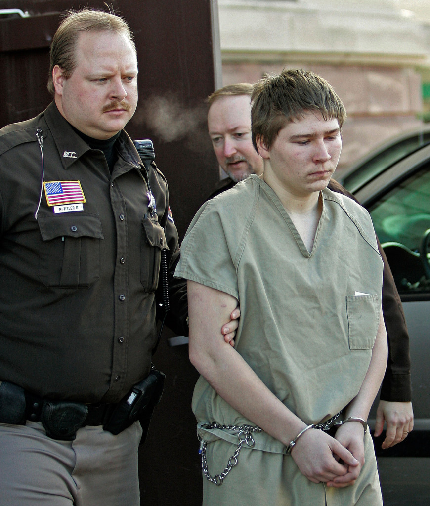 Brendan Dassey, shown in 2006 when he was 16, is escorted out of a Manitowoc County Circuit courtroom in Manitowoc, Wis. A federal court in Wisconsin overturned the conviction of Dassey, who was found guilty of helping his uncle kill Teresa Halbach in a case profiled in the Netflix documentary