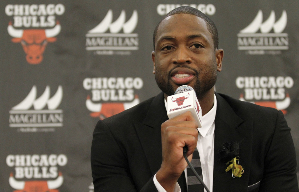 Chicago Bulls player Dwyane Wade speaks during a news conference in Chicago in July. (AP Photo/Tae-Gyun Kim)