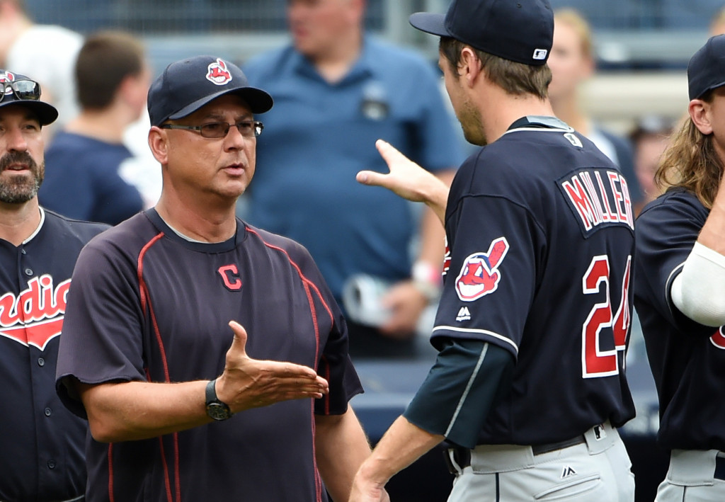 Cleveland Indians relief pitcher Andrew Miller is congratulated by manager Terry Francona after the Indians beat the New York Yankees in August. Associated Press/Kathy Kmonicek