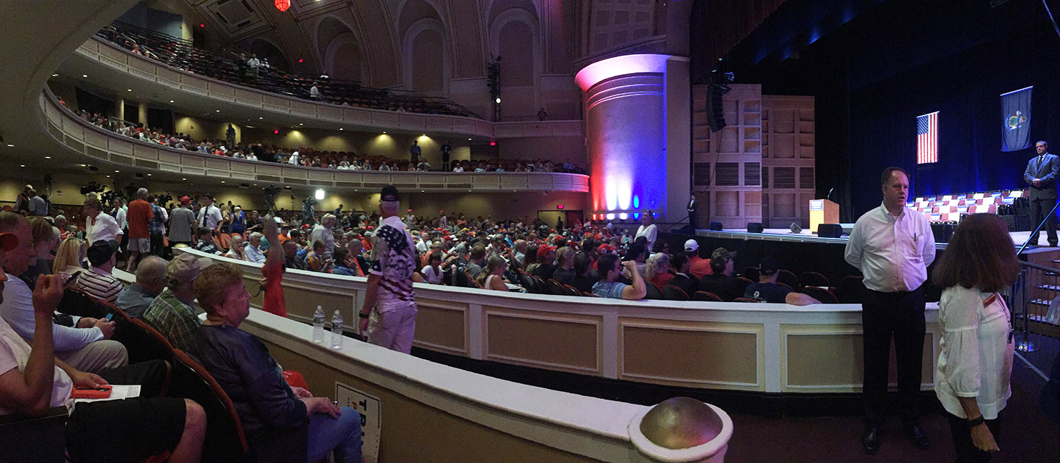 People have made their way into Merrill Auditorium after waiting outside for hours. Donald Trump is expected to take the stage ay 3 p.m.