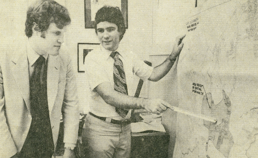 Mike McGovern, right, speaks with then-Town Manager Quentin Spector when McGovern was a summer intern for the town of Cape Elizabeth in 1977. McGovern was a student at the University of Maine. The photo accompanied a story in the Portland Evening Express.