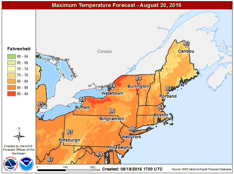 High temperatures will be warmest on Saturday this weekend.