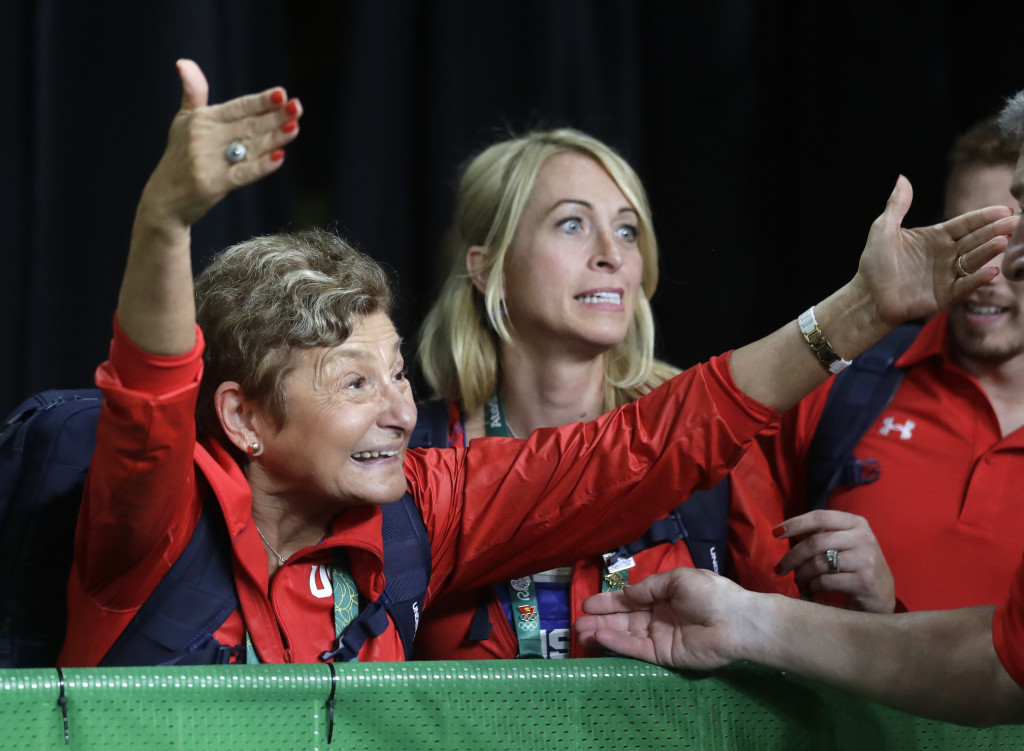 Martha Karolyi celebrates her team's performance in Tuesday's team final. Associated Press/Julio Cortez