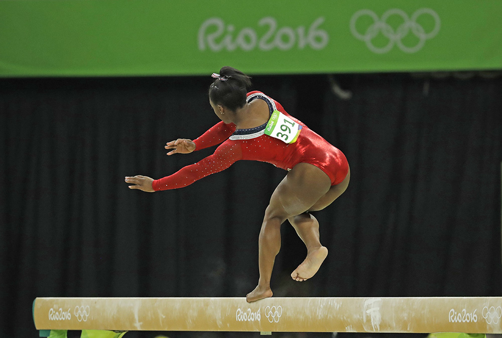United States' Simone Biles stumbles during her performance on the balance beam in the women's apparatus final at the 2016 Summer Olympics Monday. Dmitri Lovetsky/Associated Press