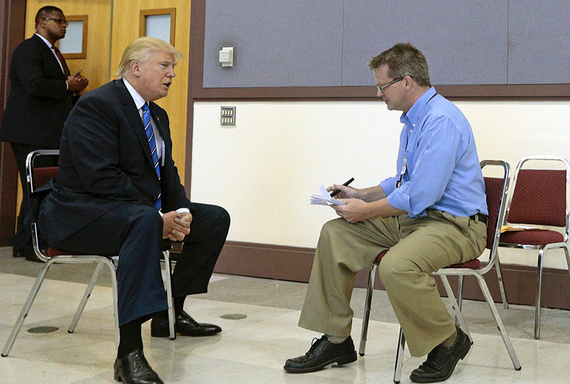 Press Herald Staff Writer Scott Thistle interviews Republican presidential candidate Donald Trump before his rally Thursday at Merrill Auditorium in Portland.