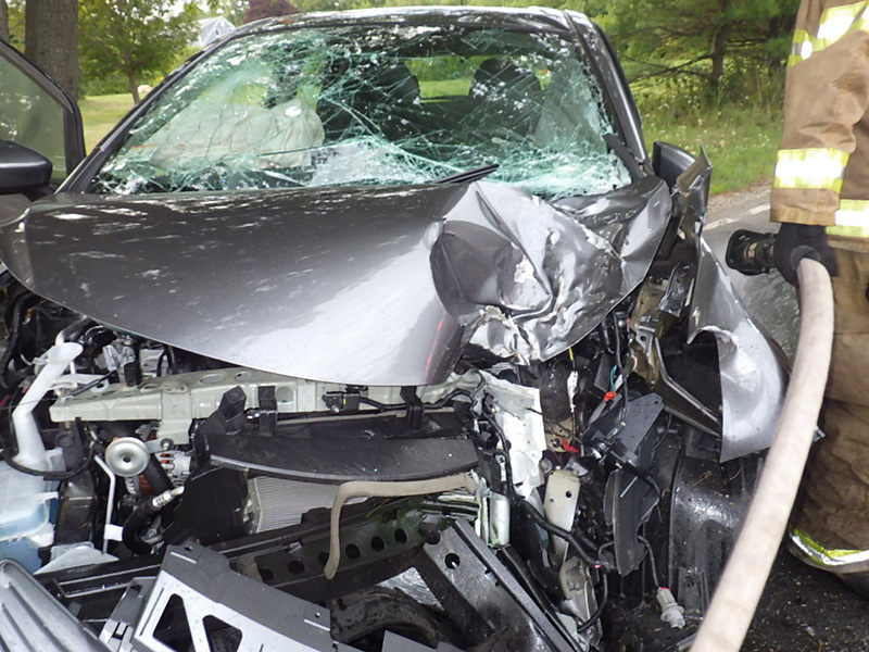 Car driven by Eric Finnerty after a Thursday evening crash in Harpswell.