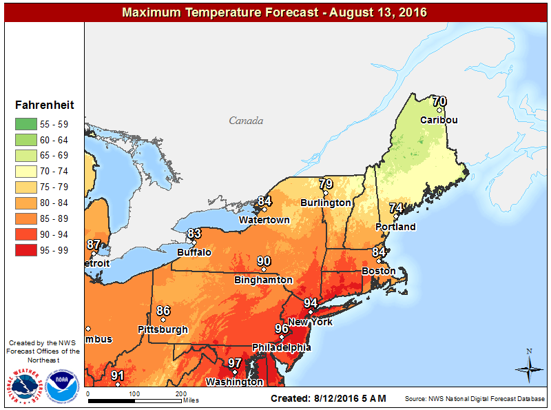Marine air will keep the region cooler on Saturday