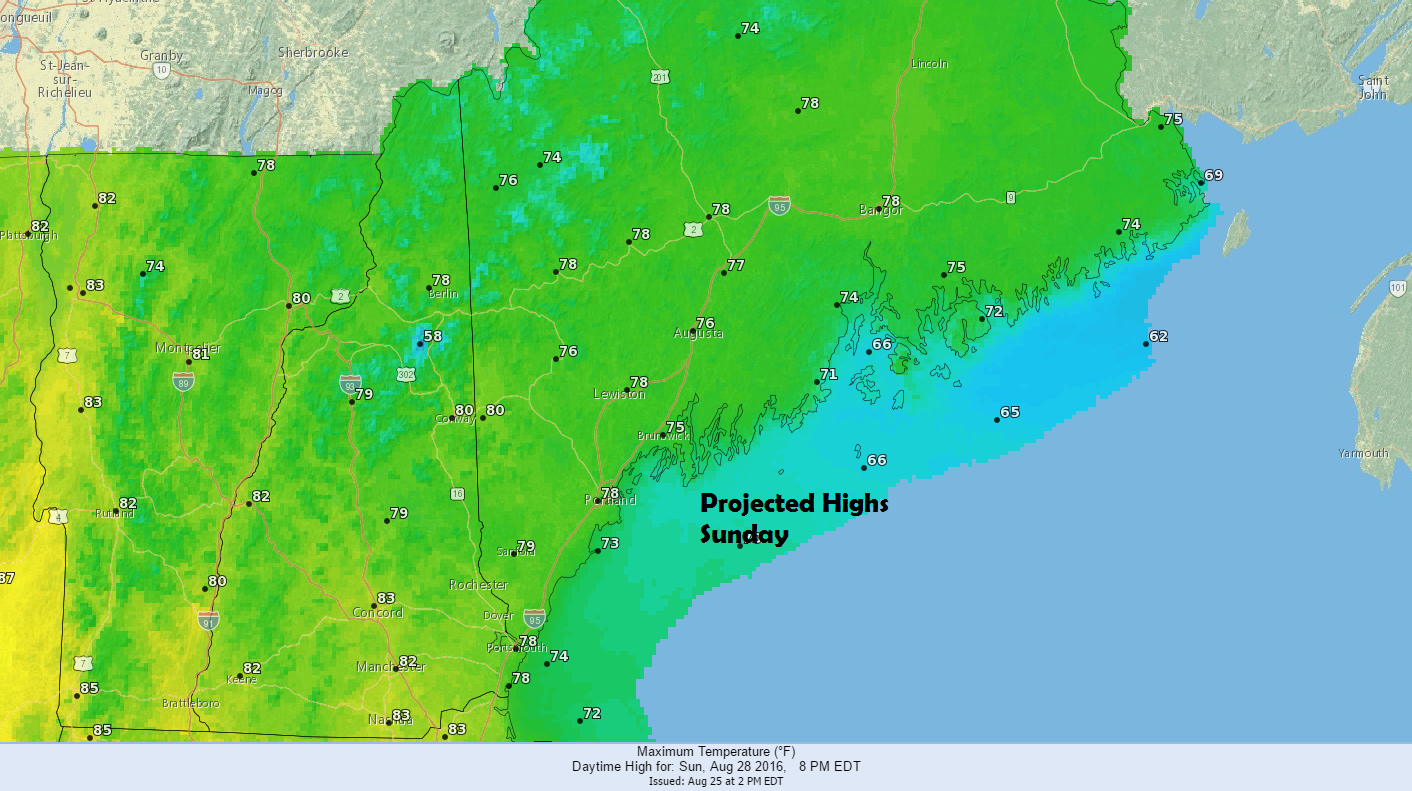 Similar temperatures Sunday with highs warmest inland