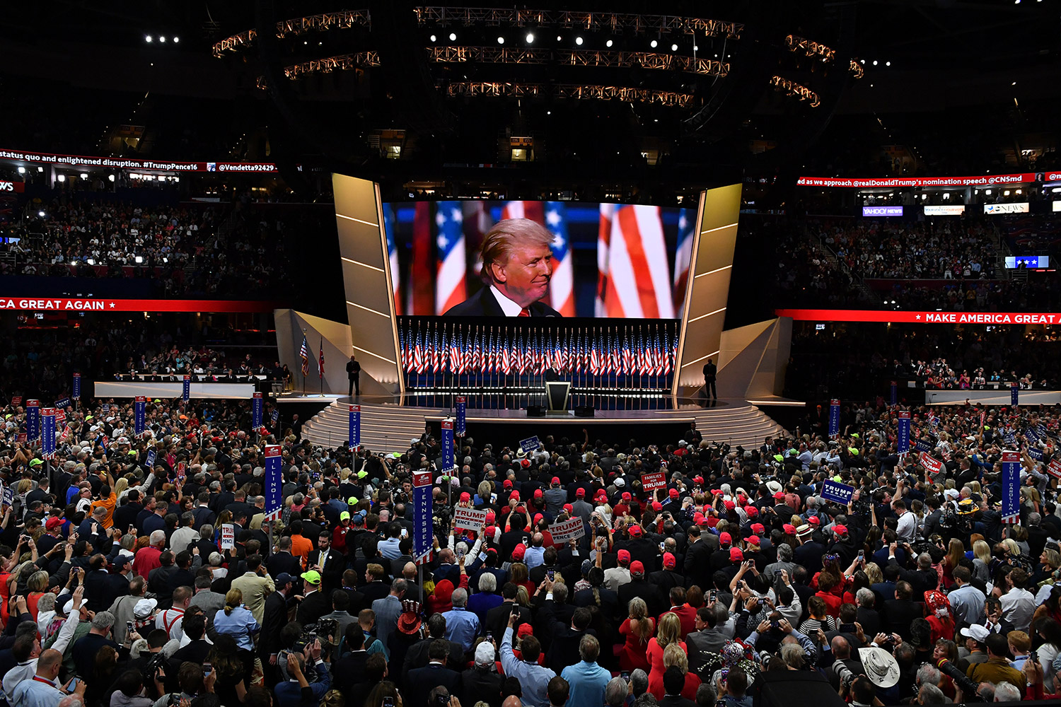 Donald Trump addresses the Republican National Convention in Cleveland on July 21, the night he accepted the party's presidential nomination.