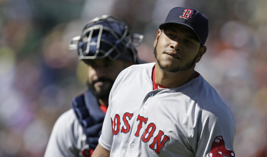 Red Sox pitcher Eduardo Rodriguez reacts Sunday after his no-hit bid ended with two outs in the eighth inning when a replay review overturned an out call at first base. Oakland got a run in the ninth off reliever Craig Kimbrel to earn a 1-0 win.
