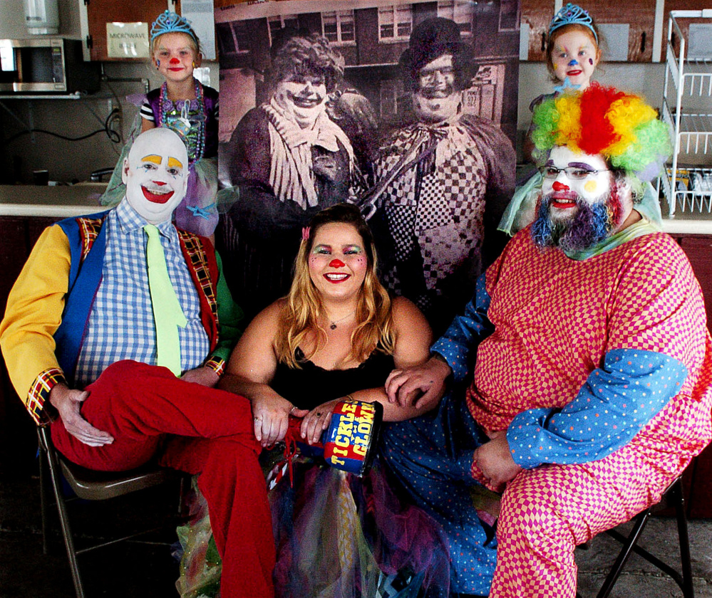 Trott Family Clowns include Coralie Spencer, 4, back left, Ava Ladd, 4, and Merle Trott Jr., front left, and Makayla and Mike Bernardini