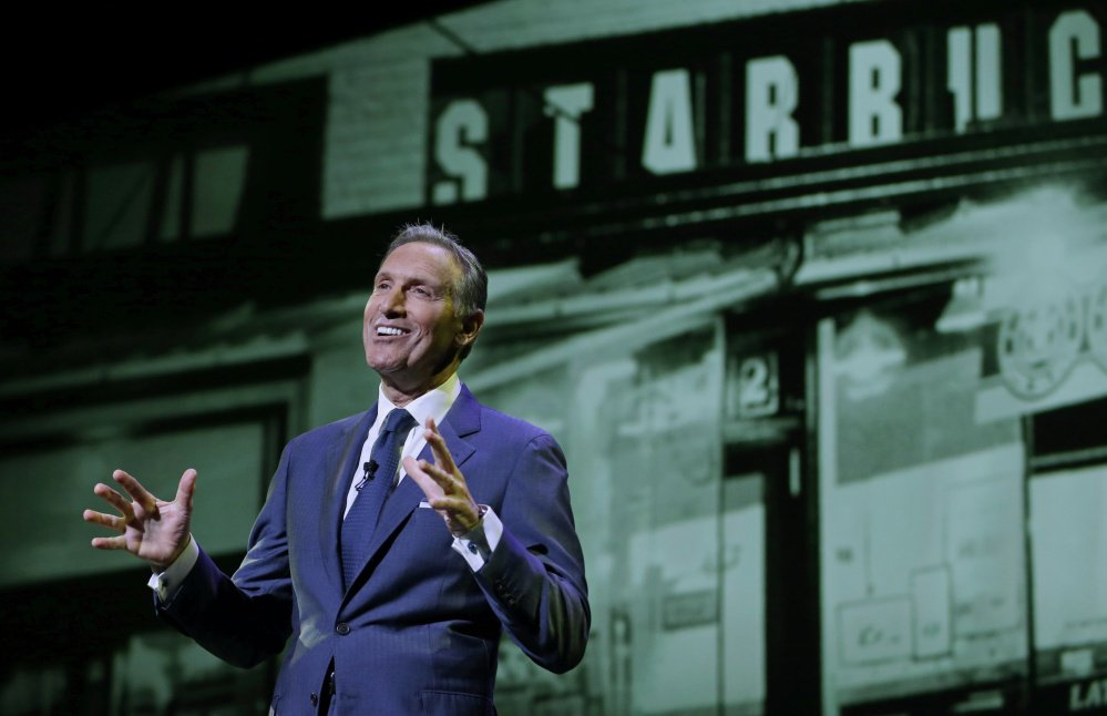 Asked Wednesday whether he might consider running for president, Starbucks CEO Howard Schultz laughed, then said,