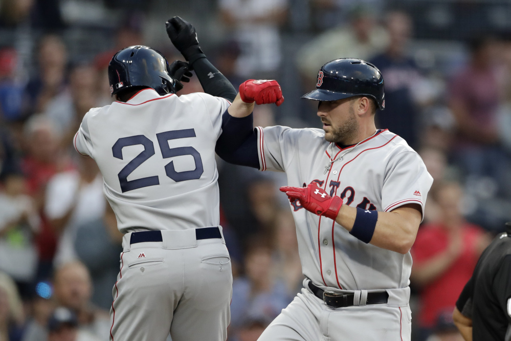 Boston's Travis Shaw, right, celebrates with Jackie Bradley Jr. after hitting a two-run home run hit against the San Diego Padres in the second inning Wednesday night in San Diego.