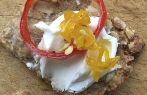 Candied peppers with cream cheese on a cracker  Shawn Patrick Ouellette/Staff Photographer